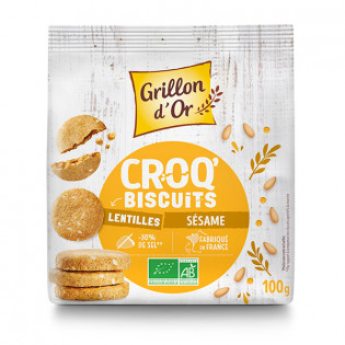 Croq'biscuits lentilles sésame 100g GO AB
