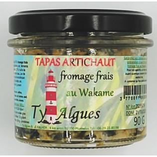 Tapas Artichaut fromage frais au Wakame, Ty Algues, Plumelin, Morbihan, Bretagne